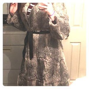 Jackets & Blazers - Vintage rabbit fur long coat